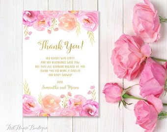 Baby Shower Thank You Card, Floral Baby Shower Thanks Card, Watercolor Baby Shower Thank You Card, #BS06