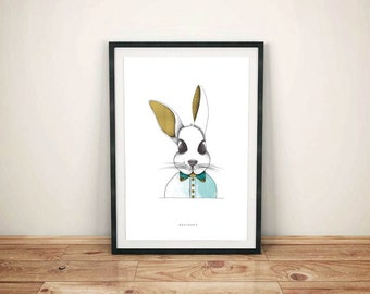 Limited Edition - color rabbit illustration poster