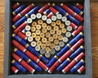 Shot Gun Shell Art with Red and Blue shells-sold out but one coming soon order one before it is taken pictures coming soon