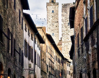 San Gimignano Italy - Village in the Evening - Giclee Photo Canvas Stretched on Wood Frame