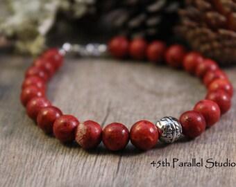 Red Bracelet, Coral Bracelet, Sponge Coral Beaded Bracelet, Red Coral Bracelet, Beaded Coral Jewelry
