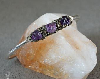 Amethyst Cuff Bracelet - Boho Bracelet - Cuff Bracelet - February Birthstone Jewelry - Healing Crystal Bracelet  Stone Rustic Style Bracelet