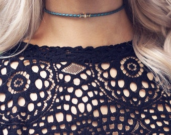 CAMILLA. Cubic Zirconia Metallic Leather Choker