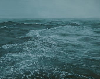 """Deep Water seascape ocean waves water misty stormy dramatic landscape original oil painting by Sarah Lynch 16""""x20"""""""