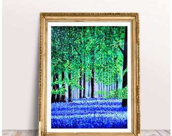 Bluebells Original Acrylic Painting, Original Art, Woodland Picture, Forest Painting, Impressionist Style Art, Special Gift, Christmas Gift