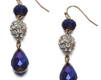 Elegant Dangle Glass Bead Earrings Blue EA6076j