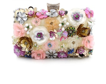 Golden Floral Wedding Clutch Bag Bride Bridesmaid BAG46