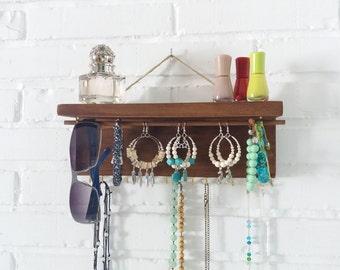 Wooden Jewelry Display, Jewelry Organizer, Necklace Holder, Earring Holder, Jewelry Storage, Organizer, Bathroom Organizer, valentine gift