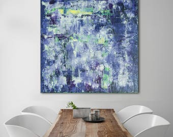 Abstract Painting XLARGE Canvas Art Original Custom Painting Blue ASTRACT Art Textutred Oil Painting Minimalist Art Textured Art