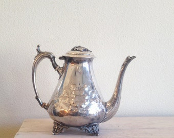 Vintage Silver Teapot, Engraved Teapot, 1960s Teapot, Formal Tea Service, Formal Table, Mid Century Home, Posh Home,