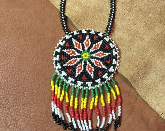 Native Seed Bead Medallion Necklace
