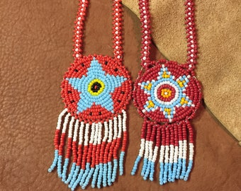 Native Seed Bead Medallion Necklaces