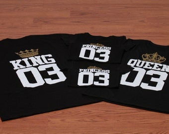King, Queen, Princess, Prince matching t-shirts with custom number.