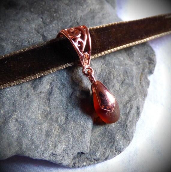 Rose Gold Choker, Gold Choker, Sea Glass Gold, Gold Pendant, Sea Glass Pendant, Sea Glass Choker, Sea Glass Jewellery, Rose Gold - KD17006
