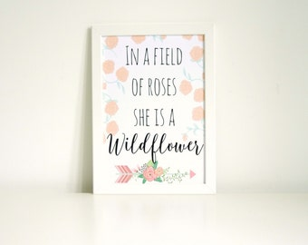 In A Field Of Roses She Is A Wildflower Wall Art Print