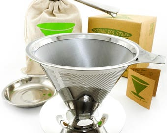 Pour Over Coffee Dripper Kit - Eco-Friendly Paperless Reusable Stainless Steel Filter Cone With Cup Stand - Bonus: Drip Tray, Bag, Scoop