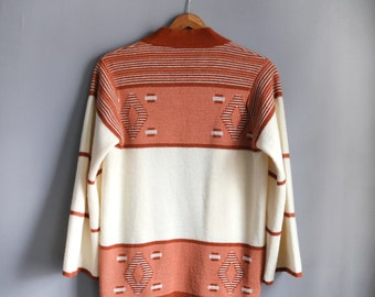 Vintage 1970s Penrose Groovy Terra Cotta Geometric Bell-Sleeved Belted Cardigan Sweater - Fits like S/M