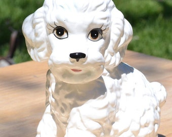 Vintage Ceramic White Poodle Dog Figurine