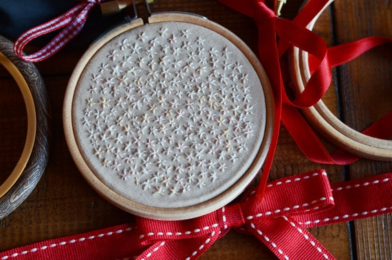 "Flower field embroidery hoop art in 3"" hoop. Home decor; embroidered art; neutral colours"