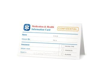 Custom Medicine & Health Info Cards - Medicine List, Allergy List, Doctor's Info, Blood Type and Emergency Contacts