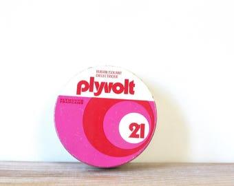 Vintage round pink red tin box, Plyvolt tin box, 60s 70s design tin box, collectible tin box, french metalic box, electrical tape metal box