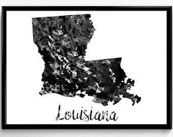 Map of Louisiana, United States of America, Black and White Map, Travel, Watercolor, Room Decor, Poster, gift, Print, Wall Art (751)
