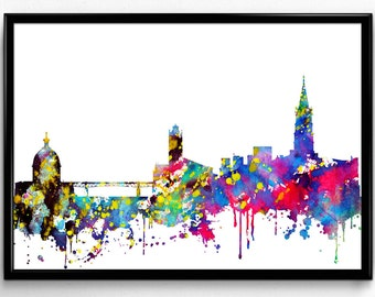 Toulouse Skyline, French City,Travel, Home Decoration, City Skyline, Colorful Watercolor Poster, Room Decor, gift, Print, Wall Art (854)