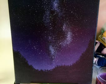Milky Way over the Trees Acrylic Painting on Canvas