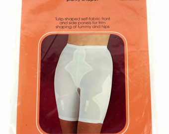 Vintage 70's Sears Tulip Panty Shaper Girdle, with 4 Garters White Moderate Shaping, Size Large 29-30 Waist - New Old Stock