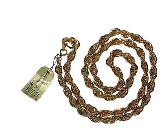 """Trifari 24"""" 14K Gold Plated Twisted Rope Necklace, Mint Condition with Original Tag, RARE, Vintage 1970s"""