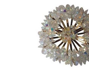 Coro 1956 Rivoli Crystal Atomic Space Age Mid Century 3D Brooch