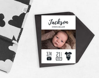 PRINTABLE Baby announcements, baby announcement, birth stats card, Birth announcement, baby stats card, baby information, baby boy, black