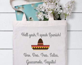 Spanish Bag, Funny Tote Bag, Grocery Tote Bag, Gift for friends, Shopping Bag,Gift For Her,Cotton Tote Bag, Canvas Tote bag, Tote