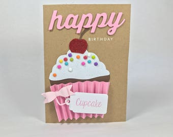 Happy Birthday Cupcake Card - Pink Bow - Sprinkles With Cherry On Top
