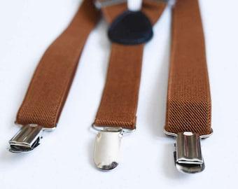 Boys suspenders Brown suspenders Toddler suspenders Baby boy suspenders Ring bearer outfit Wedding suspenders Wedding outfit Boys braces
