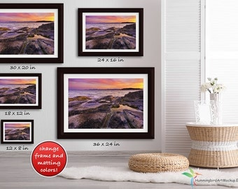 PSD FILE Framed Wall Art Mockup Template Styled Stock Photo 3 To 2 Ratio Size Guide Custom Colors Living Room Modern Bright White