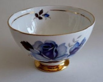 Vintage Open sugar bowl blue rose w/gold rim/Royal Imperial Bone China with gold pedestal base/sugar bowl/Made England/nut bowl/1950s/1960s