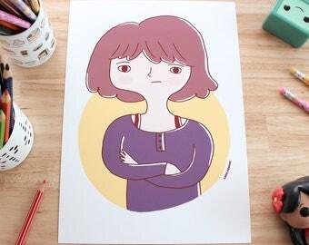 "Illustration print - ""Girl portrait"" - A4/A5 or A6 Digital fine art print, print for nursery, wall art."