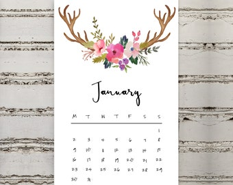 Mini Desk Boho 2017 Calendar | Printable | 2017 | Calendar | Mini | Desk | Digital | Antlers | Floral | Pretty | Colourful | Desk Calendar