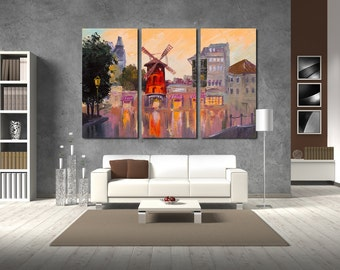 Large Wall Holland Oil Paint on Canvas Digital Print  Color Multipanel Canvas Cityscape View Canvas Art Large  1-3-4-5 Panel Holland Print
