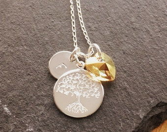Tree of Life Necklace, Mothers Day Gift, Sterling Silver Chain, Handstamped Jewelry, Initial necklace, Bridesmaid gift, family tree jewelry