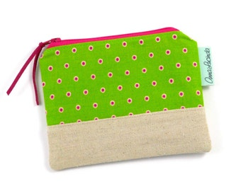 Green Polka Dot Women's Wallet, Coin Purse, Small Money Purse, Polka Dot Purse, Coin Pouch, Money Pouch, Card Holder, Handmade Wallet