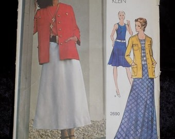 1970s Vintage Vogue Americana Pattern Designer Anne Klein, Vogue 2690, Dress and Jacket, Bust 32 1/2 Size 10