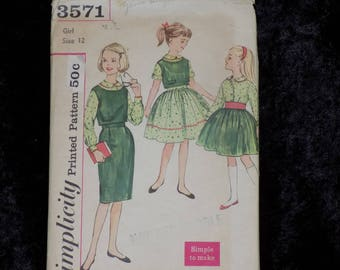 Vintage 1960s Simplicity Sewing Pattern #3571, Girls Top, Blouse and Two Skirts, Simple To Make, Girls Size 12