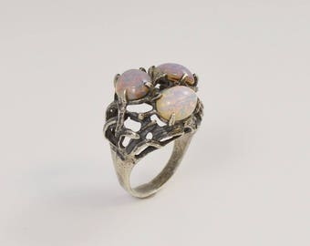 Sterling Silver 925 Mid Century Modern Open Work Ring Size 8.25(00963)