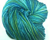 POSEIDON'S MISTRESS, Hand Dyed Fingering Weight Sock Yarn, Merino Sock Yarn, Blue Green Yarn, Teal Yarn, Hand Dyed Yarrn, Indie Dyed Yarn