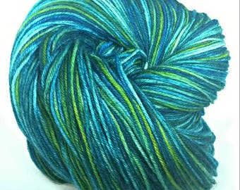 POSEIDON'S MISTRESS, Hand Dyed Fingering Weight Sock Yarn, Soft Merino Blend, Superwash, Blue Green Yarn, Teal Gold Yarn, Ocean Colors