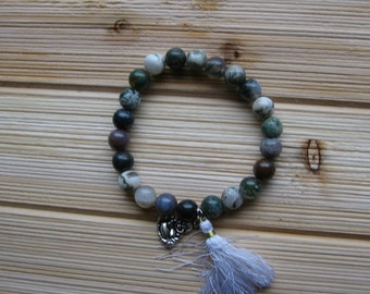 N1213 Multi Colored Agate Beaded Bracelet With Small Buddha Charm and Tassel