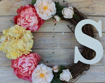 Spring & Summer Wreath with Hydrangea, Peonies, Roses and Cream Monogram