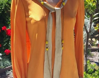 60s Orange Sailor Inspired Top tunic or Mini Dress with Tie and Collar. Zipper front. Size Small or medium.